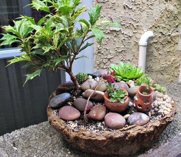 Miniaturgärten Pflanzkübeln tontöpfe vasen flussteine baum | Fairy ...