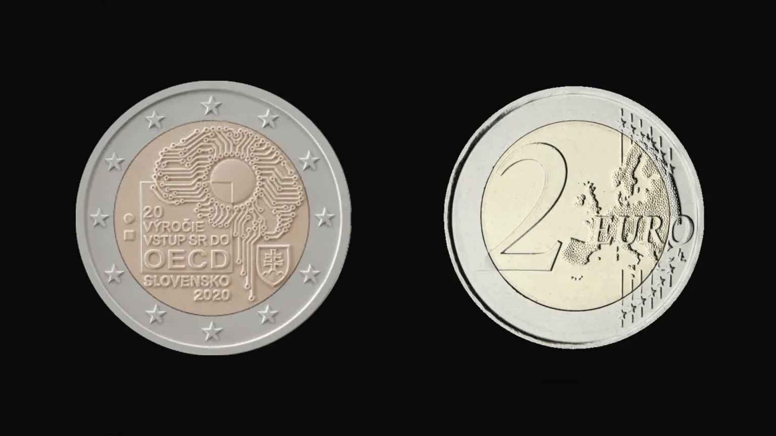 2 Euros Conmemorativos Eslovaquia 2020 Adhesión De Eslovaquia A La Ocde Ficha Completa Eslovaquia Fichas Euro