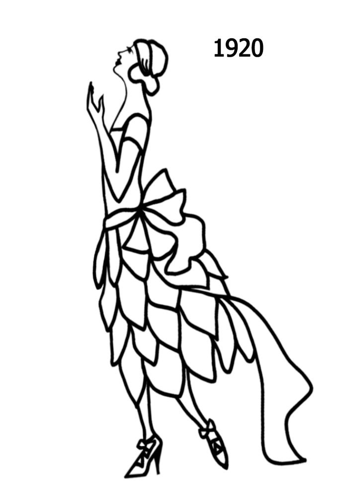 Silhouette line drawing of party dress with skirt of