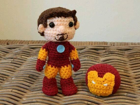 Knitted Iron Man (is the yarn steel wool?) by ...