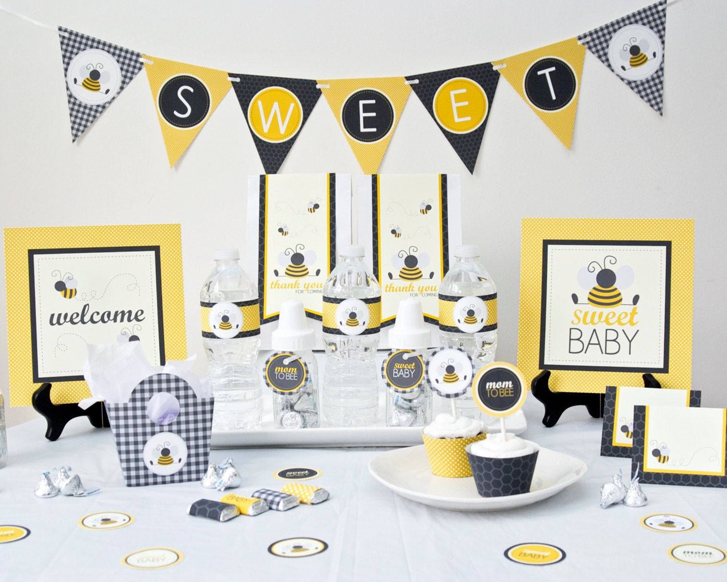Bumble Bee Baby Shower Party Package Printable Diy
