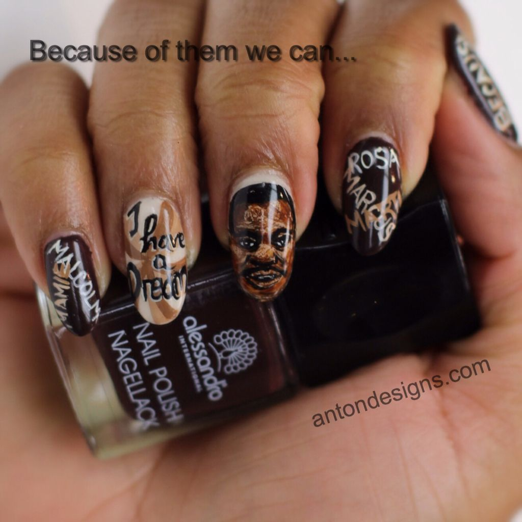 Nail Art History: Our Attempt At A Portrait Of Martin Luther King Jr. For