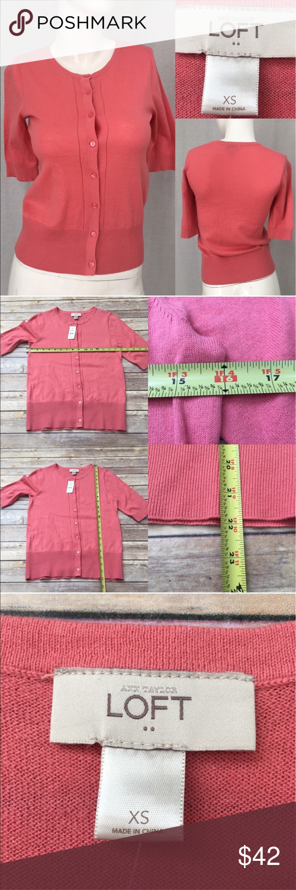 🍂NWT XS LOFT Pink Short Sleeve Cardigan Sweater Measurements are ...