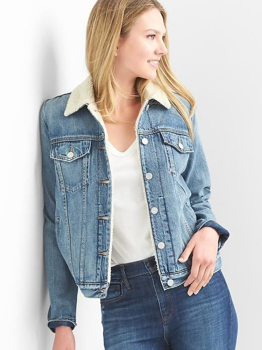a6212e2d6 Gap Womens Icon Sherpa-Collar Denim Jacket Medium Indigo