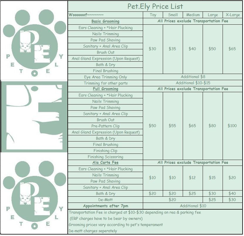 Grooming Prices Reference  Dog Grooming    Dog