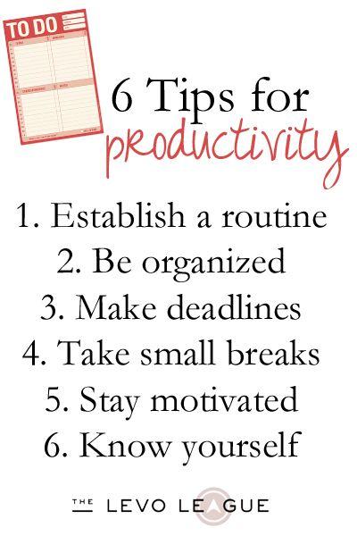 Set Routine Organize Establish Deadlines Take needed breaks Keep focused Learn personal skills