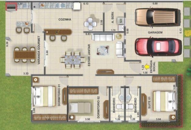 Casa dos plantas para terreno de 200 metros cuadrados for Diseno de casa de 120 metros cuadrados