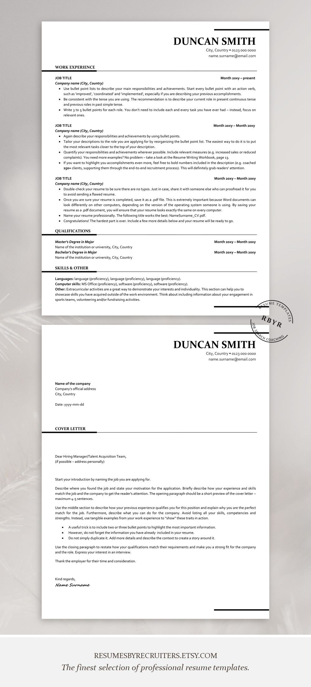 ATS friendly Resume Template, Instant Download One and Two