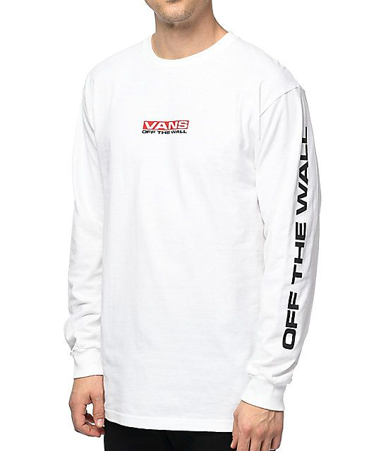 877f36cefa35fb Vans Side Waze Long Sleeve White T-Shirt