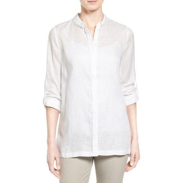 22d81cda7af3 Elie Tahari 'Carly' Pleat Back Roll Sleeve Linen Blouse (18,070 INR ...