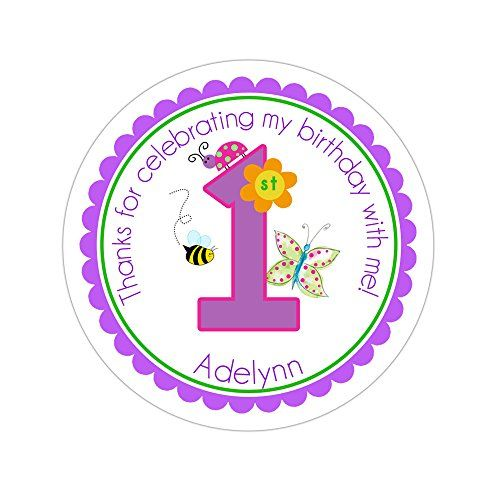 Personalized customized birthday party favor thank you stickers garden party age number round labels