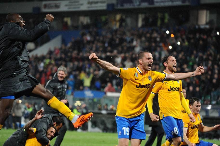 L'urlo di Bonucci (e dei compagni) al termine della partita. LaPresse