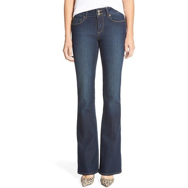 Paige Denim 'Hidden Hills' ?Bootcut Jeans ($110) ❤ liked on Polyvore featuring jeans, winona, paige denim, boot cut jeans, zipper jeans, paige denim jeans and 5 pocket jeans