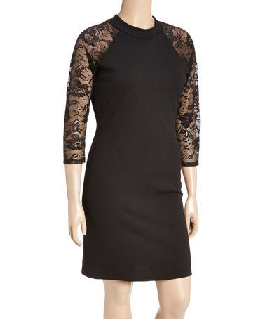 Another great find on #zulily! Black Lace-Sleeve Keyhole Back Sheath Dress - Plus #zulilyfinds