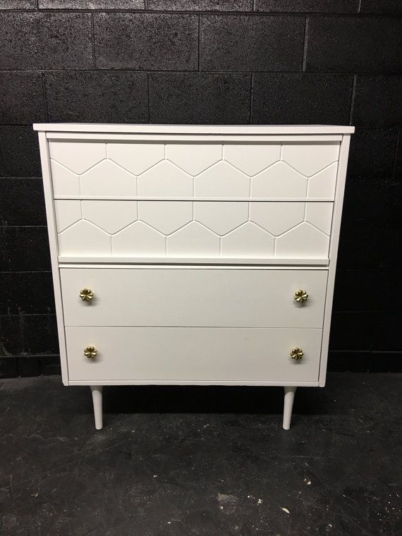 Mid Century Gloss White Chest by autumnrollick on Etsy