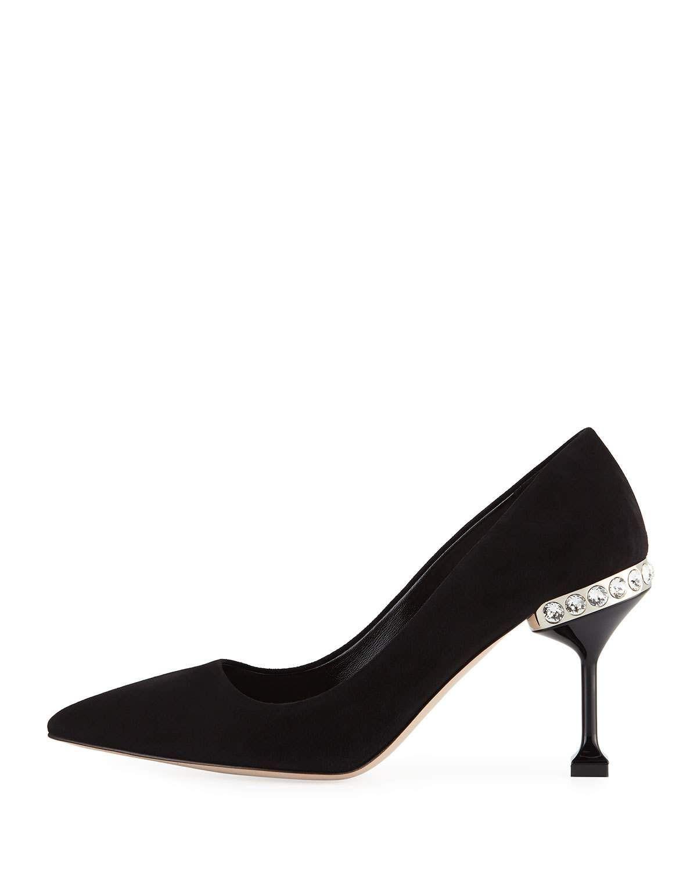 03700a5ea2a9 Miu Miu Suede Jeweled-Heel Pumps, Black | Products | Pumps heels ...