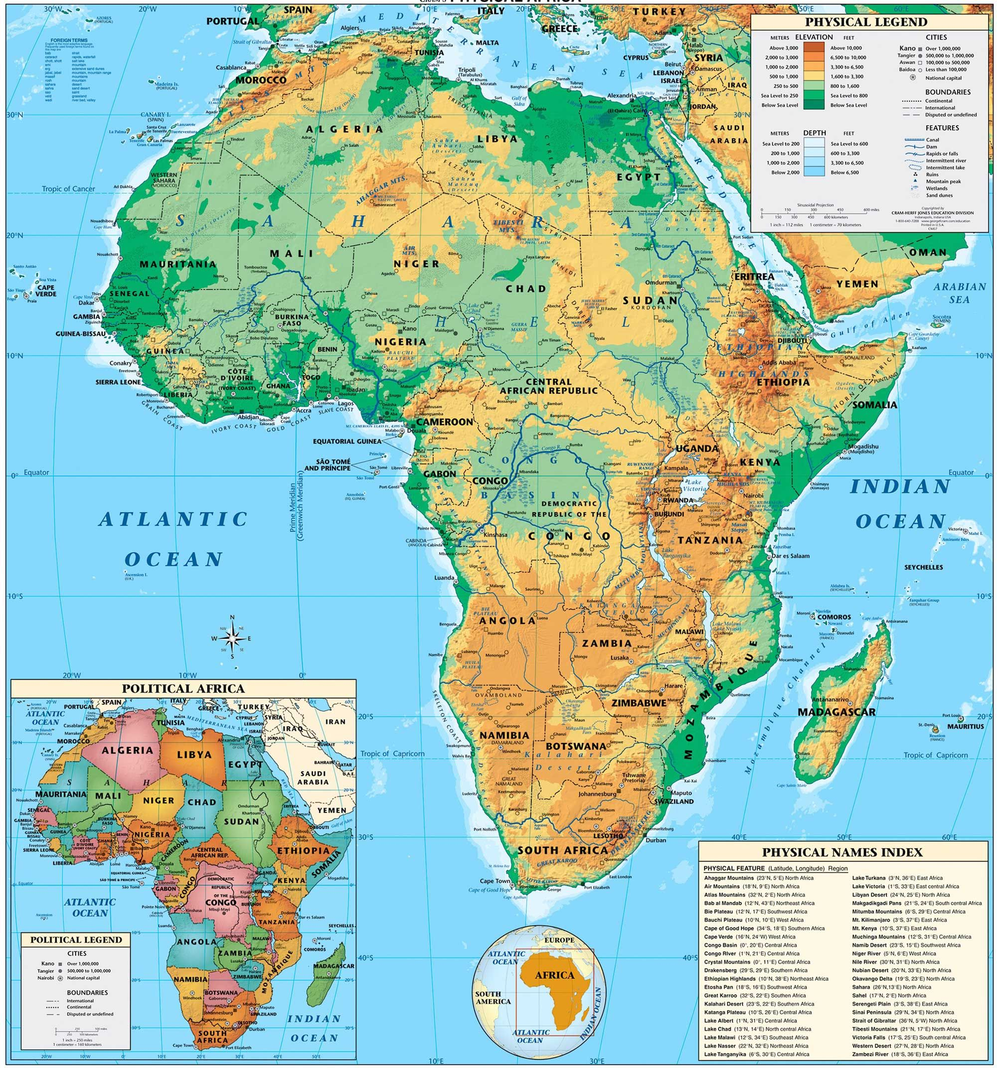 Africa physical map teach ideas pinterest geography africa physical map gumiabroncs Choice Image