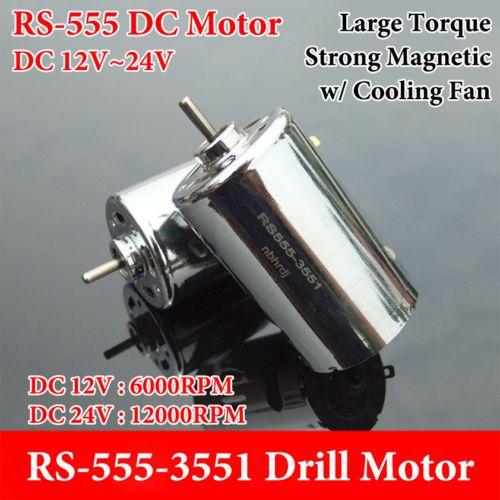 DC 12V 18V 24V 12000RPM Large Torque Magnetic RS-555 Motor DIY Drill Car Model