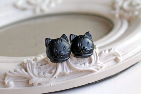 Black Kitty cats  Earrings cute kawaii Halloween by DinaFragola