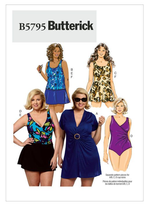 f39ef22f09ea7 One-piece swimsuit sewing pattern comes in plus sizes. B5795 | Butterick  Patterns