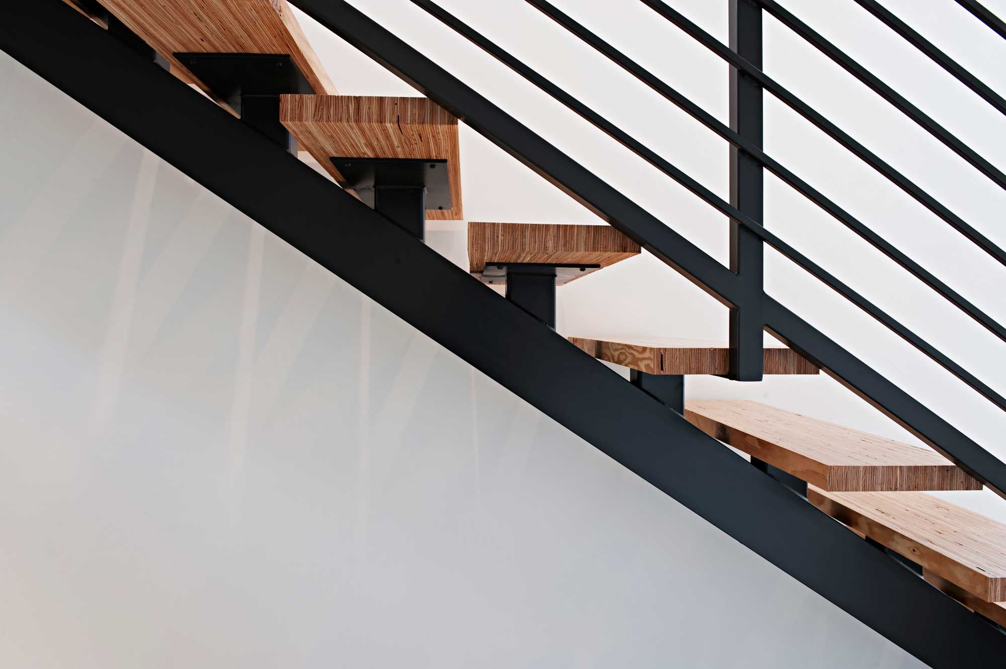 tube steel stringer stair with wood treads and plate steel ...
