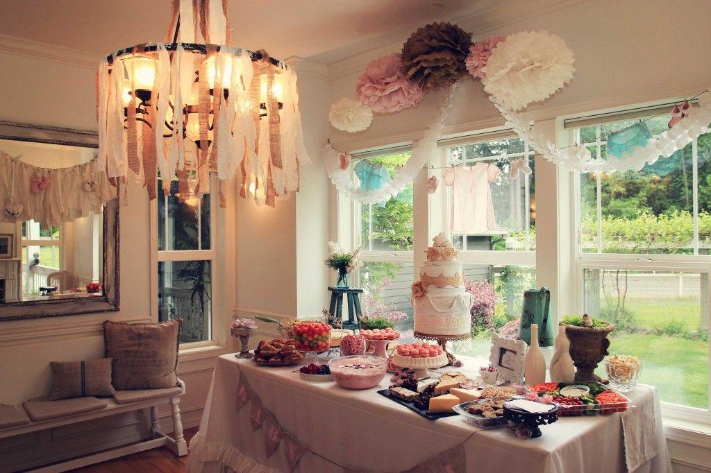 A Vintage Farmhouse Baby Shower Living room setup