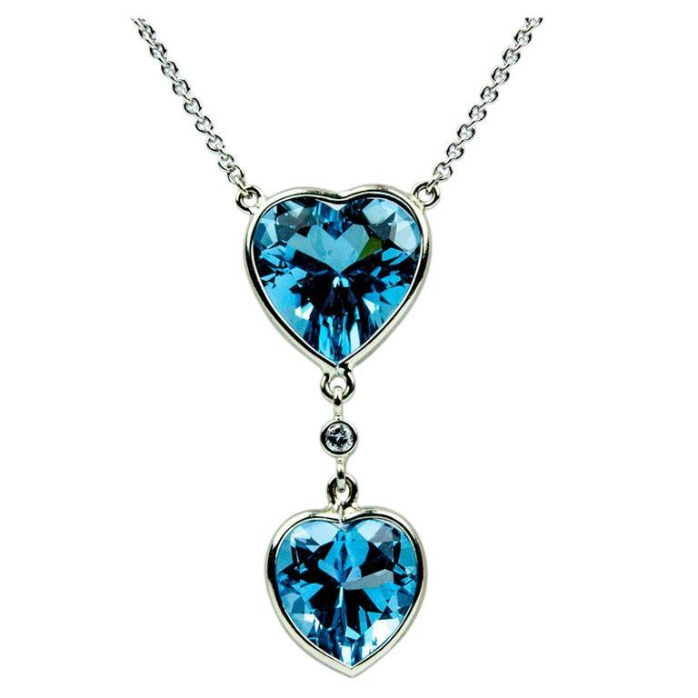 16d803062083f4 Beautiful Blue Topaz Double Heart Gold Pendant Necklace in 2019 ...