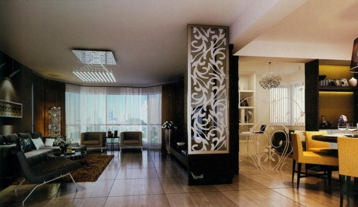Image result for wooden partition designs between living for Dining hall wall design