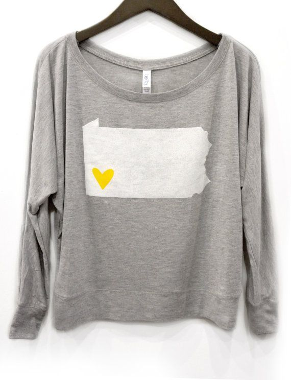 Women's I Heart Pittsburgh Long Sleeve Tee S M L by RaggedRow, $55.00
