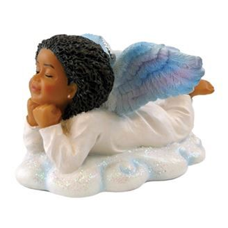 Resting blissfully on a snow white cloud this black angel