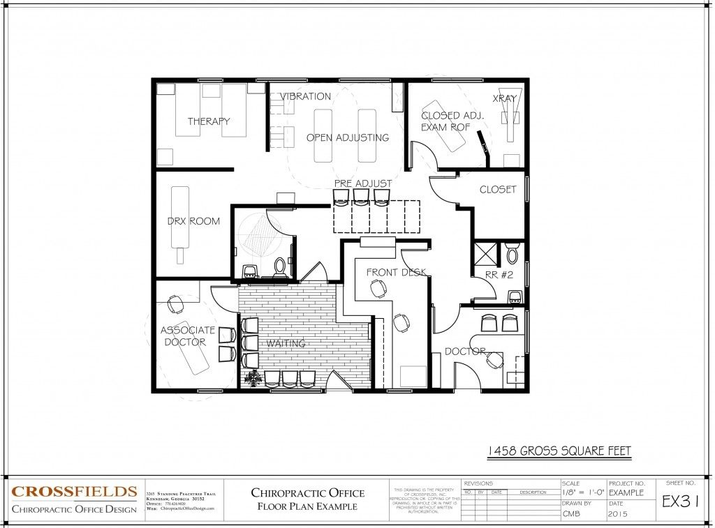 Chiropractic office floorplan with open adjusting for Office room plan