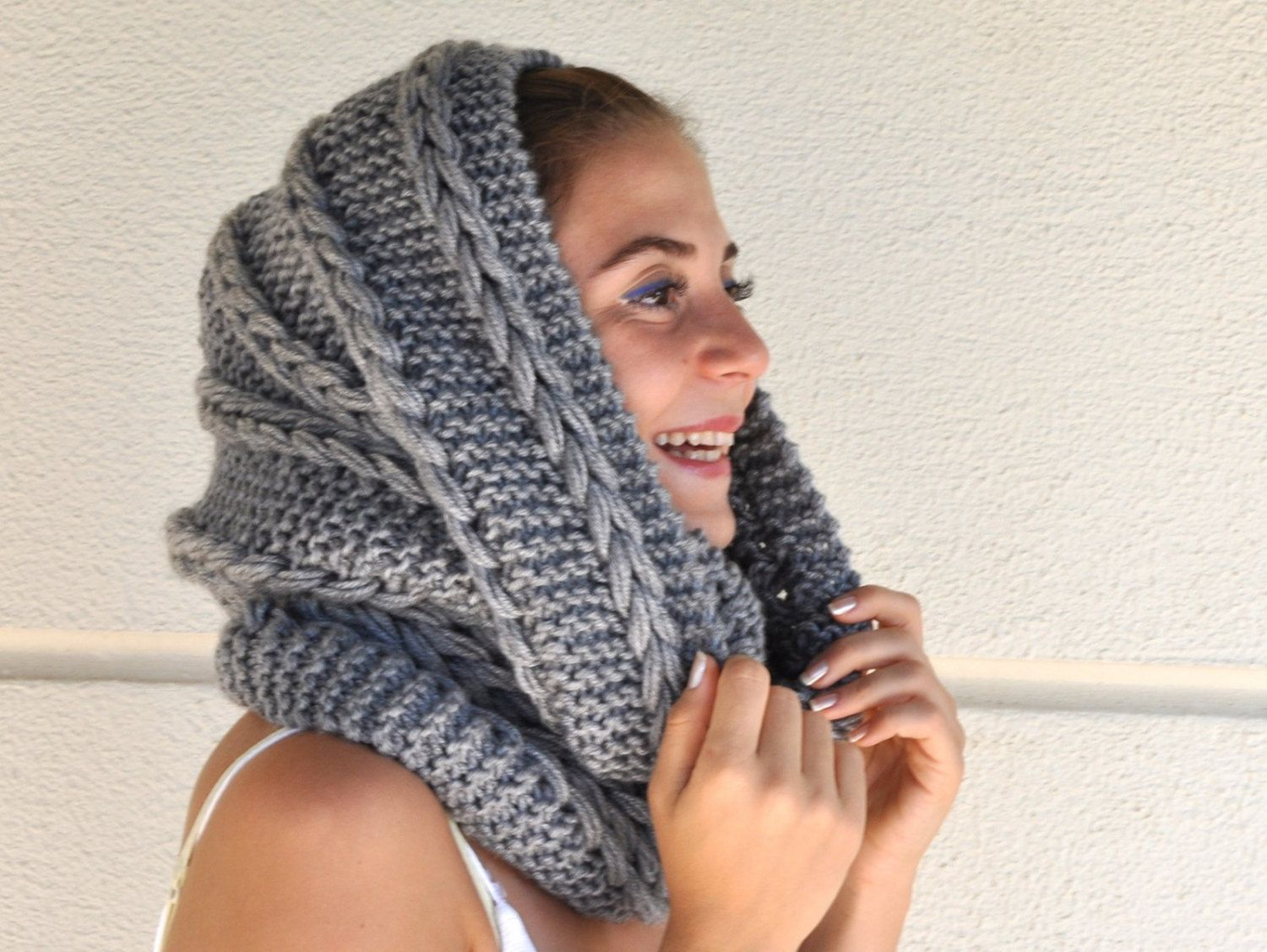 Knitting Loop Scarf : Chunky infinity scarf cowl neckwarmer loop circle knit