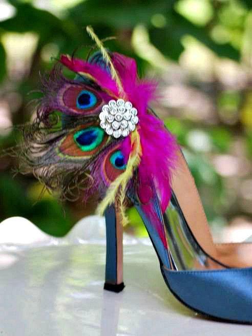 Shoe Clips Fuschia Yellow Peacock Fan Bride Bridal Bridesmaid
