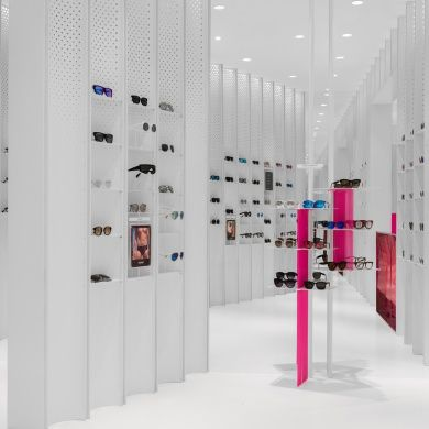 N3ON: Project: N3ON Architect: Linehouse Project Location: Shanghai, China Project Date: 2016Playing with the perception of ocular perception (which is the sense of sight perceived by the eye), this all white interior with white fixtures and forced perspectives where the only accent of colors are the focus point at entry - the cashier desk, new arrivals, and the eye glasses themselves. Mirrors reflecting the perspectives in this space makes this shop feel fast-paced, mimicking the pace of…
