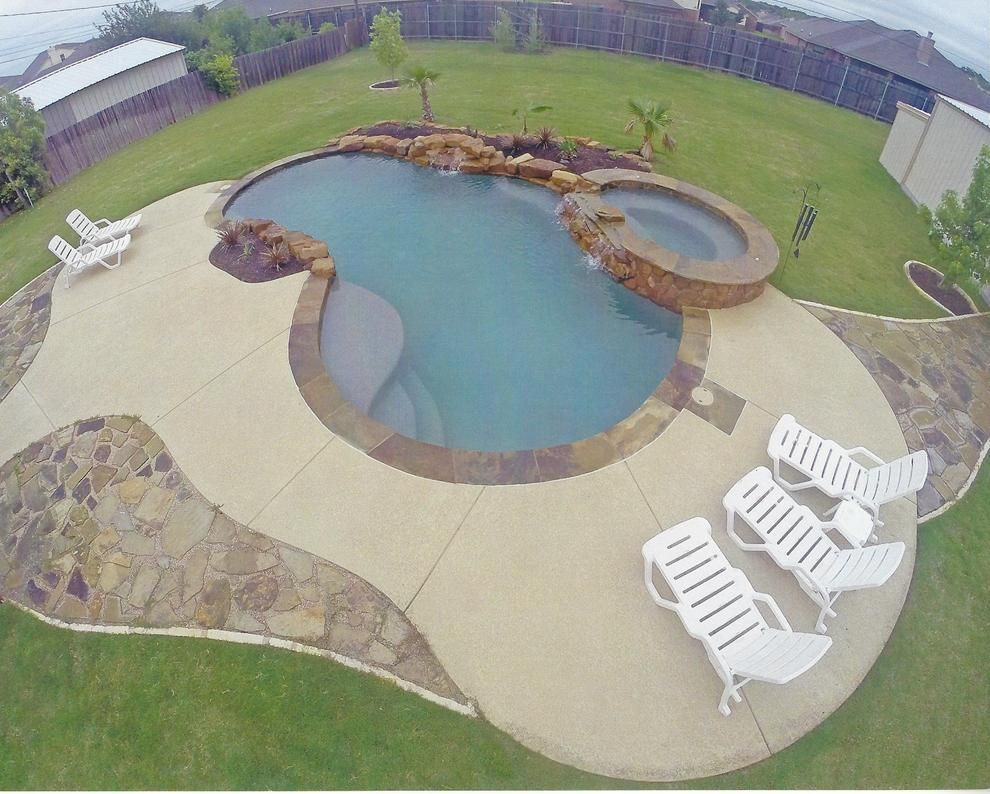 Concrete Pool Deck Resurfacing With Spray Knock Down Texture And Stamped Overlay Coping Cool Deck Deck Resurfacing Pool Deck