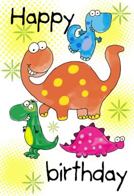 Happy Birthday Dinosaurs - Free Printable Birthday Card ...