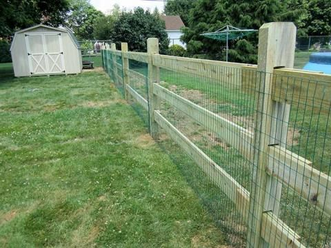 Slip Board Fence With Green Wire Mesh Modern Fence Backyard Fences Backyard Landscaping