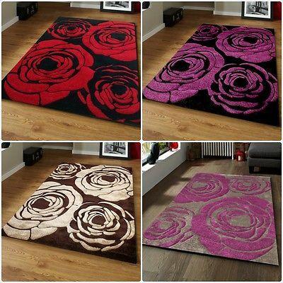 black red grey purple brown beige roses flowers new modern rug in 2 large sizes
