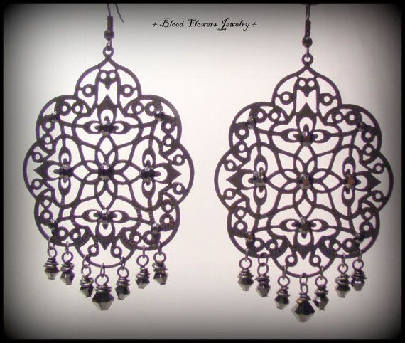 ARIELLAH Gothic Bohemian Black Filigree Earrings with Rhinestones and Czech Glass by Blood Flowers Jewelry $18.00 http://www.storenvy.com/products/6648499-ariellah-handmade-gothic-bohemian-black-filigree-earrings-with-rhinestones-a