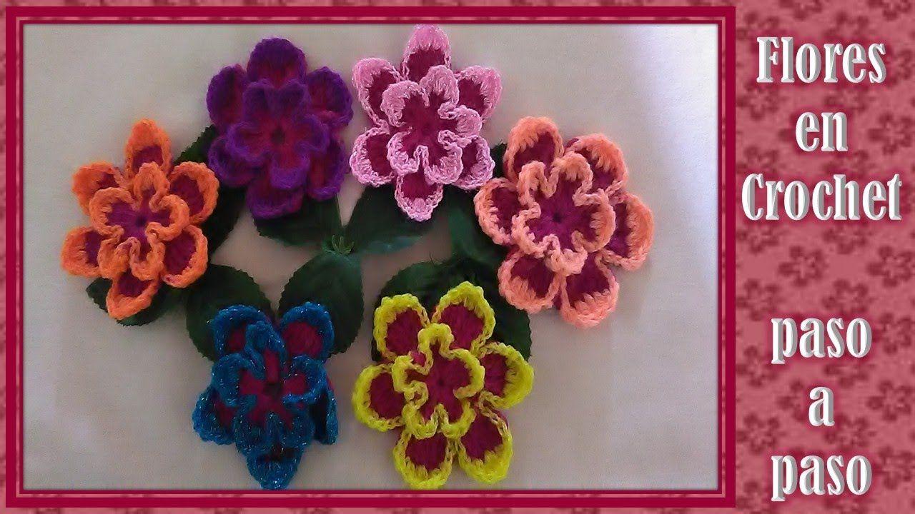 FLORES en crochet PASO A PASO fciles de hacer Flor Pinterest