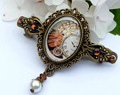 Small Steampunk barrette in brown bronze with shell pearl, gears, mechanical, clockwork, pearls Hair Clip, Girls Hair Accessories