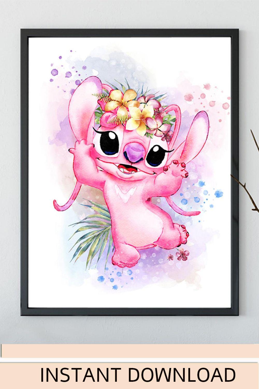 Pink Stitch Angel Lilo And Stitch Watercolor Art Print Etsy In 2021 Angel Lilo And Stitch Stitch And Angel Lilo And Stitch