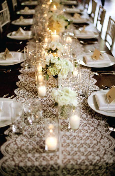 Great Gatsby Wedding Manteles Blancos Y Un Encaje Contrastante