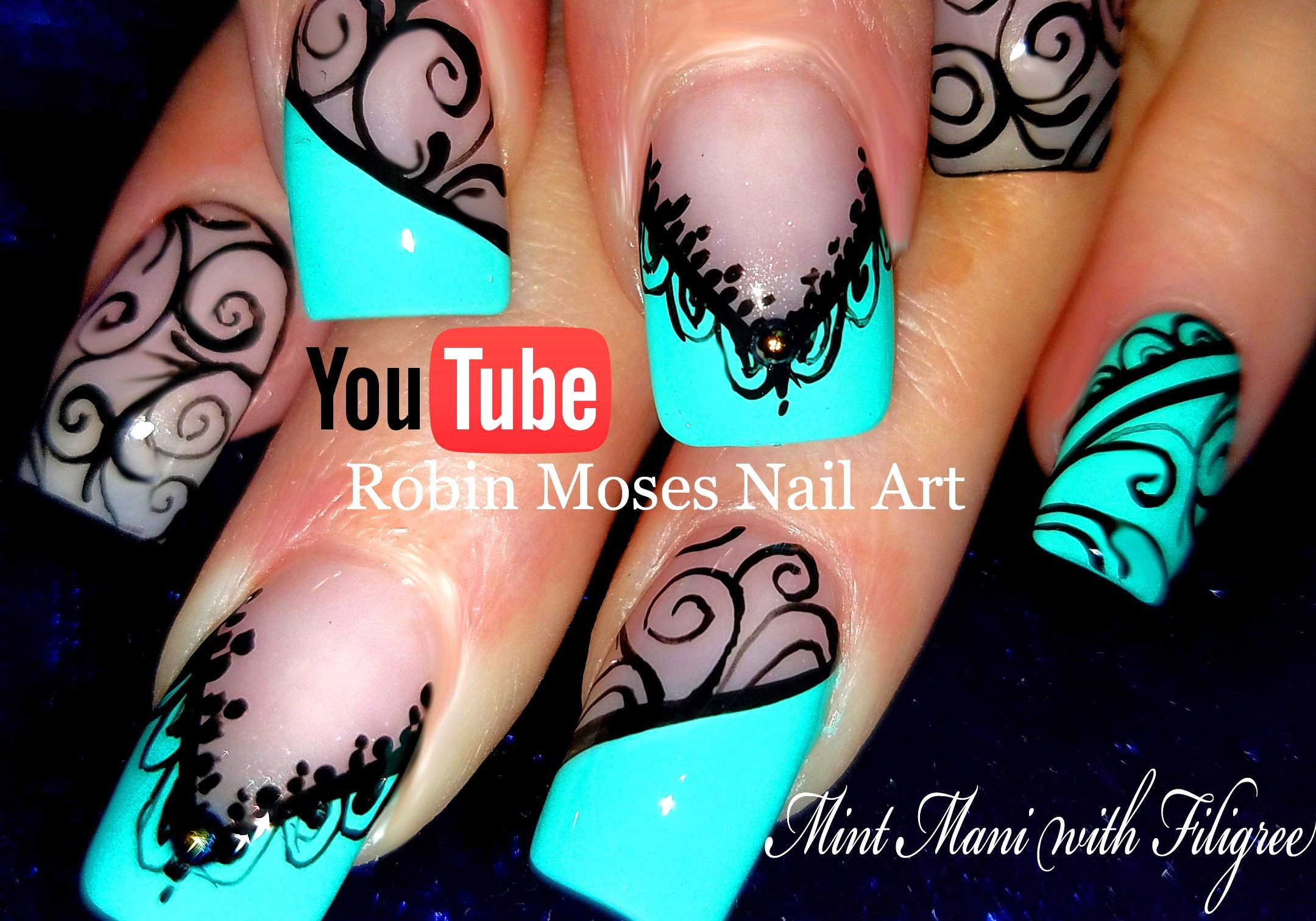 Black Lace Mint Mani | DIY Hand Painted Nail Art Design Tutorial ...