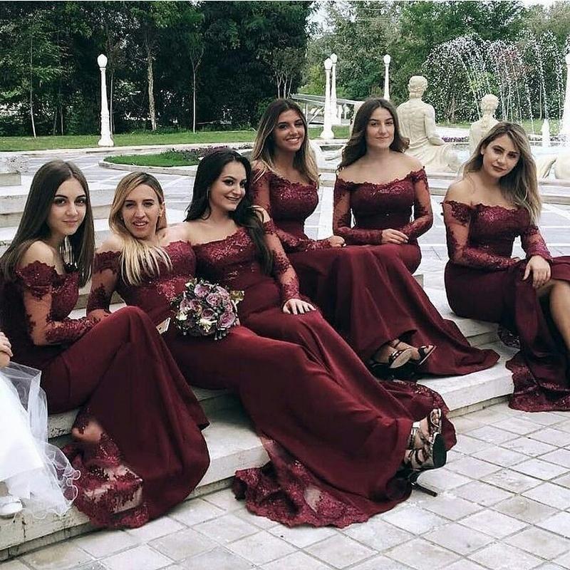 fd6358efb98 Burgundy Long Sleeves Mermaid Cheap Long Bridesmaid Dresses Online ...