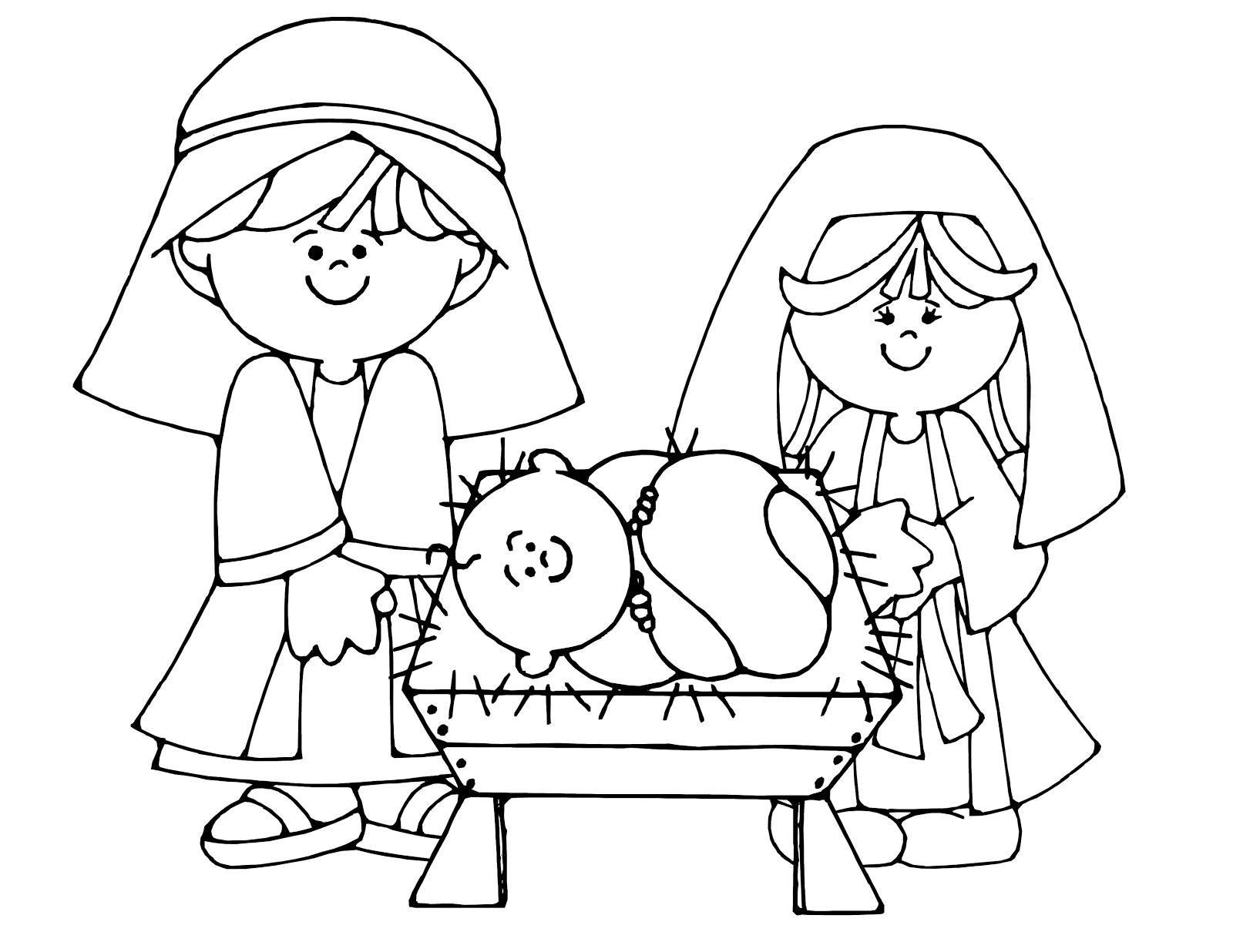 simple nativity scene colouring page
