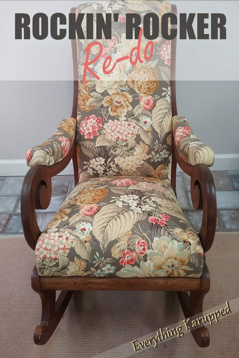 I re-upholstered my friends rocker and she had no idea it was an heirloom. A great furniture transformation. Come see the before and after with lots of upholstery pics. #re-upholstery #upholstery | Everything Karupped