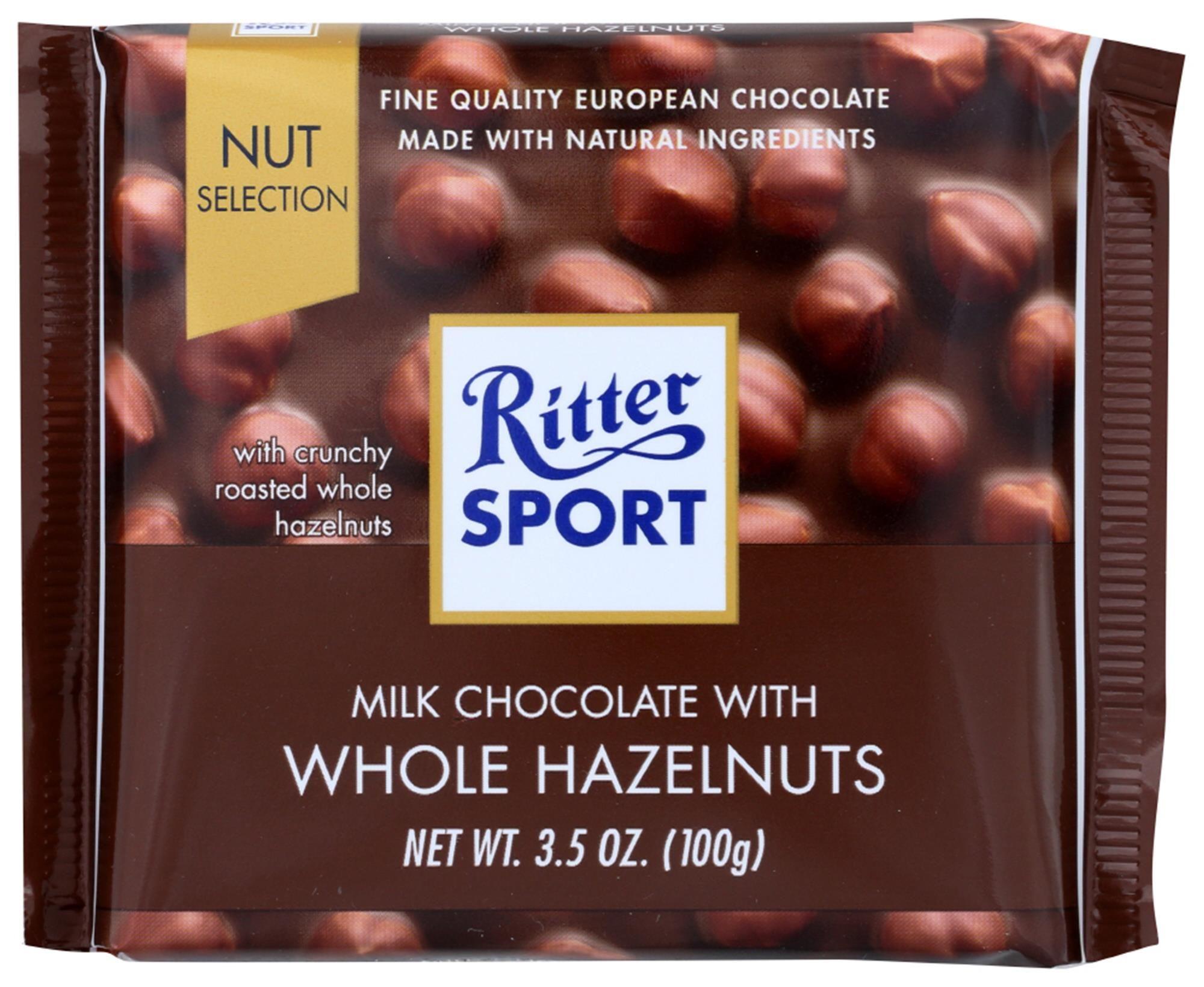 Ritter Sport Chocolate, Milk With Whole Hazelnuts, 3.5 Oz