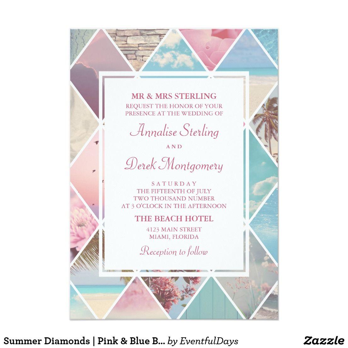 Sommer-Diamanten | rosa u. blaue Strand-Hochzeit Karte | Karte ...
