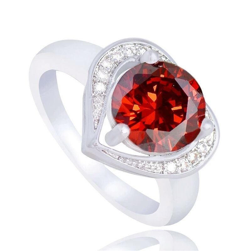 Silver Plated Red Heart And Cubic Zircon Stone  Ring